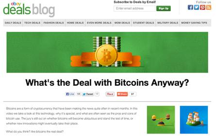 A mysterious post on eBay's Deals blog asks users how they feel about the bitcoin virtual currency but gives no means for users to tell eBay their opinion.