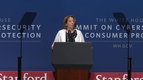Lisa Monaco of the National Security Council speaks at the White House cyber summit in Stanford, CA, on February 13, 2015