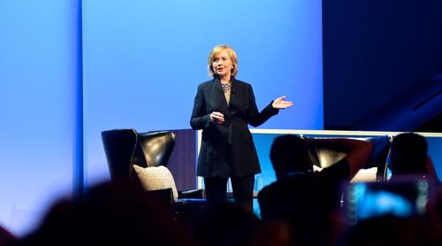 Former U.S. Secretary of State Hillary Clinton, speaking Oct. 14, 2014, at the Salesforce Dreamforce conference in San Francisco.