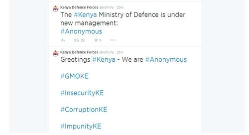 The hacked Twitter account of the Kenyan Defense Forces