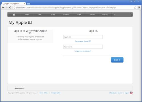 A phished Apple login site on EA.com.