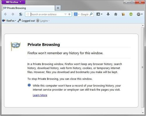 Firefox's Private Browsing