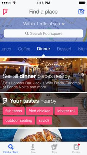 Foursquare highlights your tastes in pink.