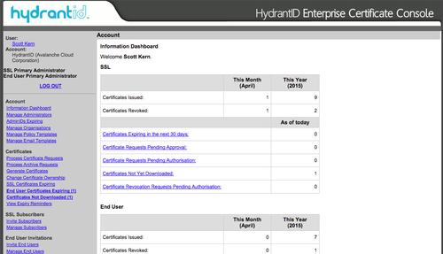 HydrantID's console for managing SSL certificates