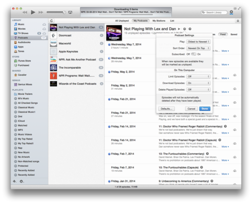 iTunes 11.2 rejiggers the app's Podcast interface, which may please some frustrated users