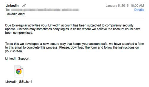 Phishing emails purporting to be from LinkedIn try to trick potential victims into divulging their login credentials.
