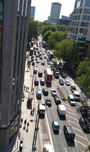 Traffic on Euston Road in London.