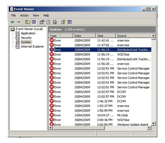 Windows Event Viewer (eventvwr): many error messages may be used to mislead people