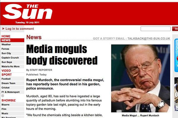 The fake news story inserted into News International's website (Stilgherrian/CSO Online)
