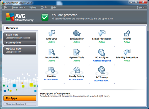 AVG Internet Security 2012 main screen: simpler, fewer icons, complex options hidden (AVG, supplied)