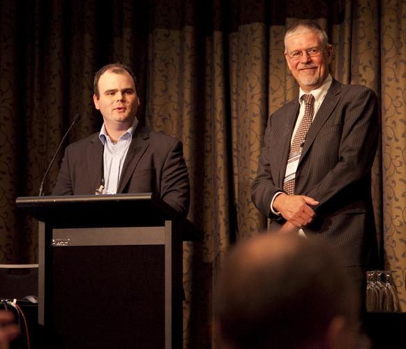Tom Sykes, product development and sales manager with NBN Co (left) with Tony Hill (Chair, Asia Pacific IPv6 Task Force)