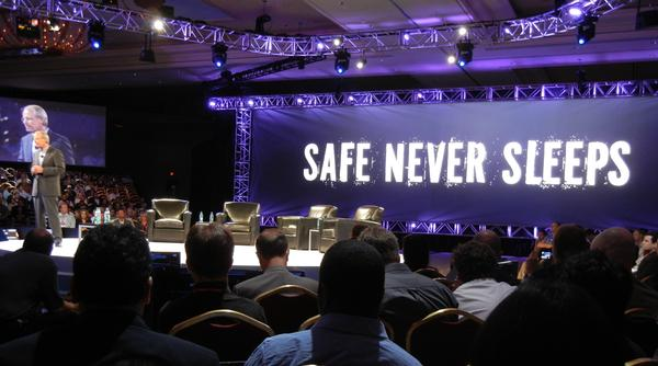 Safe never sleeps (but grammar does): McAfee co-president Todd Gebhart delivering a keynote at Focus 11 in Las Vegas. (Stilgherrian / CSO Online)