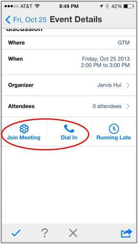 You can join a meeting or call from your mobile device with a single tap.
