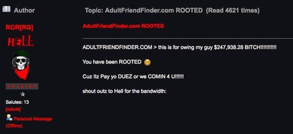 Leaked database of Adult Friend Finder still online